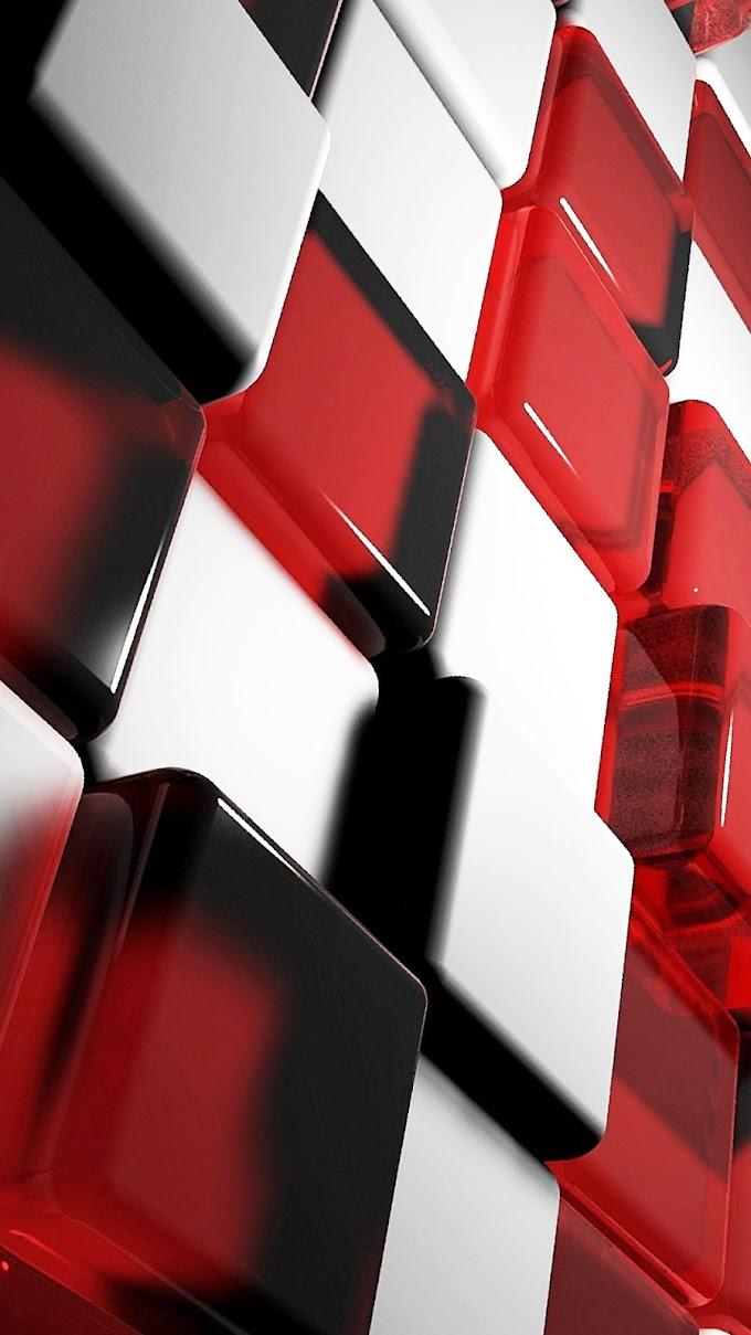 Wallpaper iPhone Cubos Vermelho e Branco