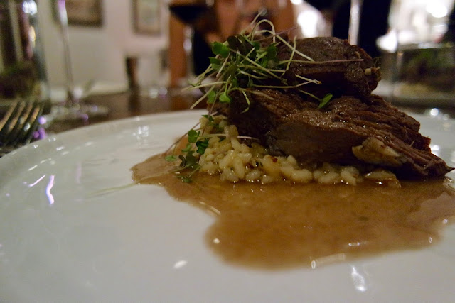 Venison Shoulder: mushroom risotto, thyme & garlic jus