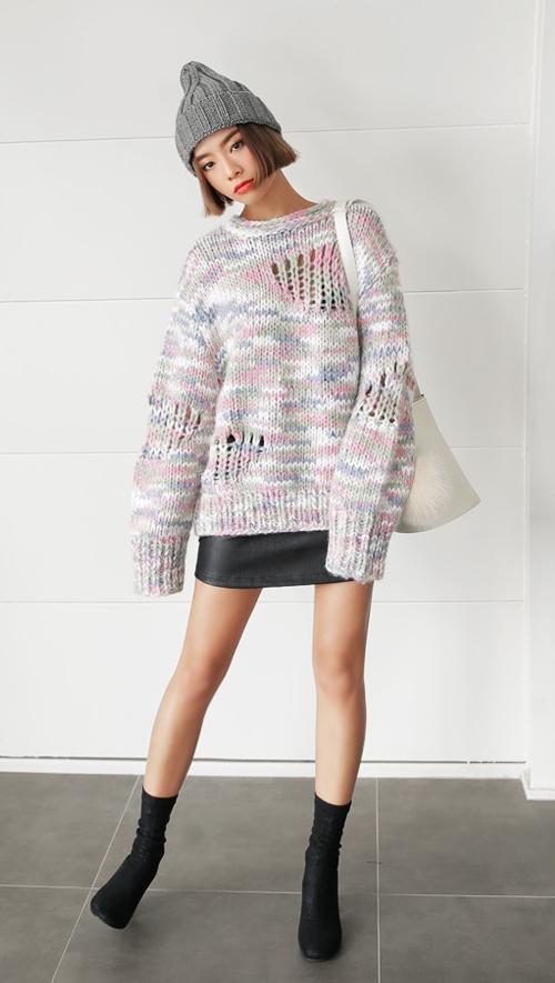 Multi-color Loose Fit Sweater