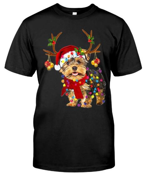 Santa yorkie terrier dog gorgeous reindeer Light Christmas T-Shirt Hoodie Sweatshirt. GET IT HERE