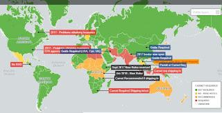 World-Map wo ist das Carnet de Passages erforderlich?