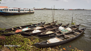 Counrty fishing boats docked at Marine Drive, Kochi