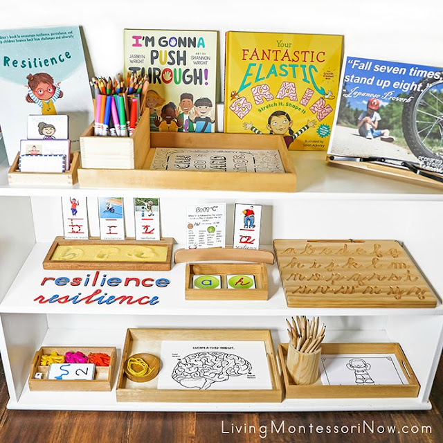 Montessori Shelves with Resilience-Themed Activities