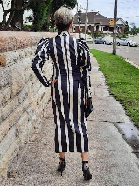 Black and white striped dress with puff sleeves
