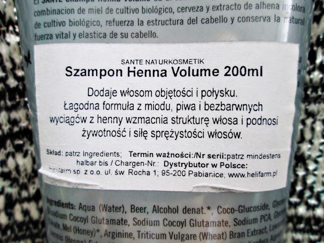 Szampon Sante zwiększający objętość z henną i piwem