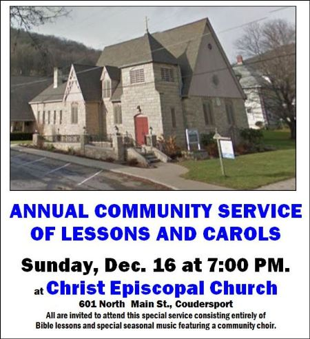 12-16 Annual Lessons & Carols, Christ Episcopal, Coudersport