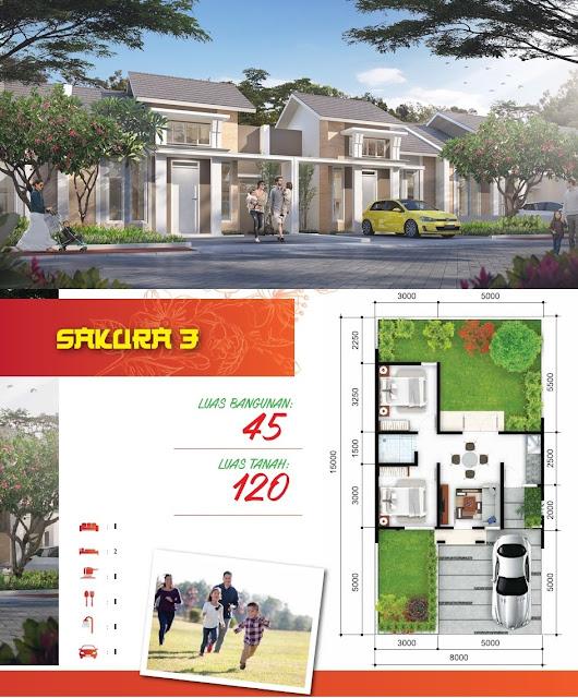 Gambar dan Denah Tipe SAKURA 3 - 45/120 (Klik pada gambar untuk memperbesar)