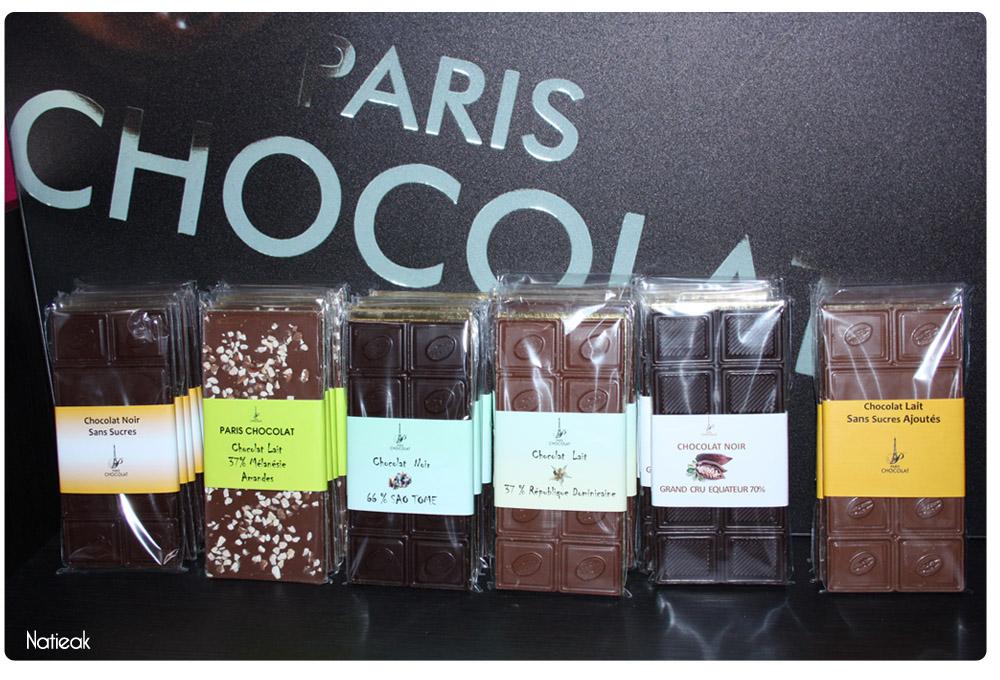 tablettes de chocolat de Paris Chocolat