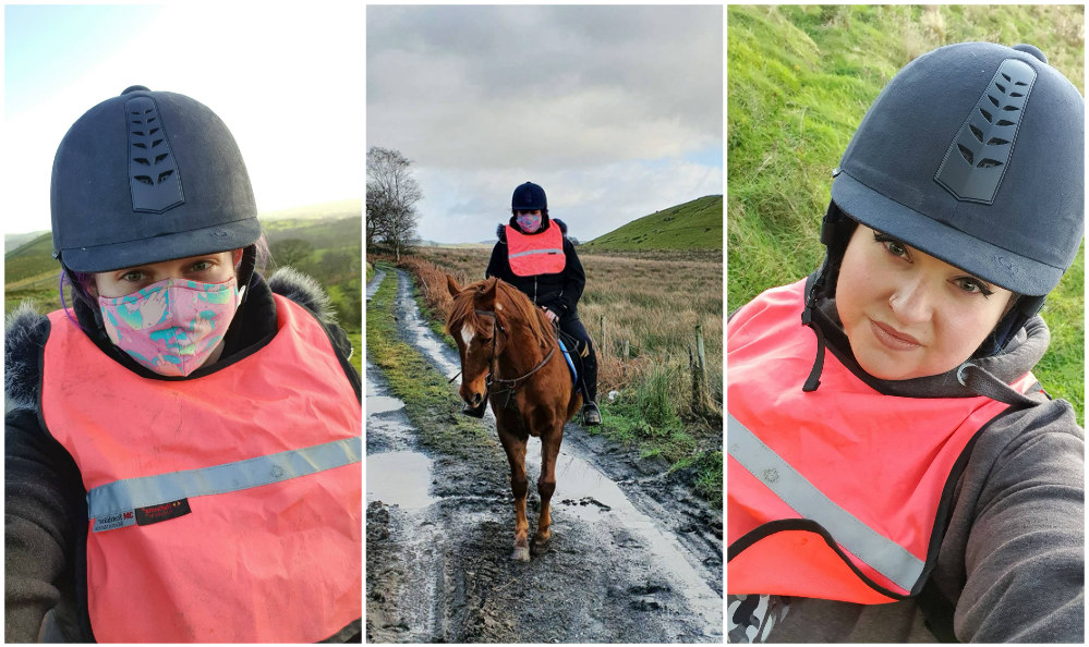 A girl in a riding hat and hi-viz wearing a face mask, A girl riding a chestnut horse, a girl in a riding hat with ear warmers