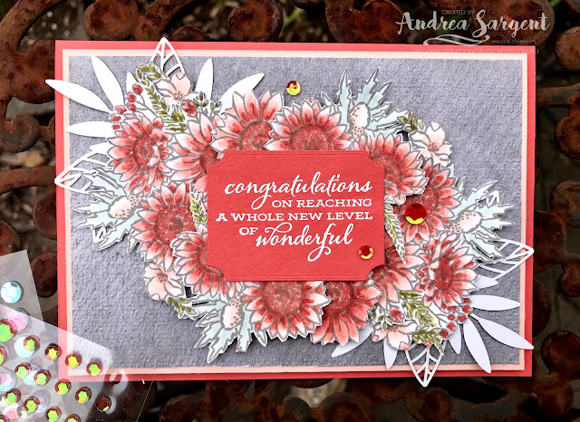 Jar of Flowers Stampin Up card with Calypso Coral, Andrea Sargent, Independent Stampin Up Demonstrator, South Australia
