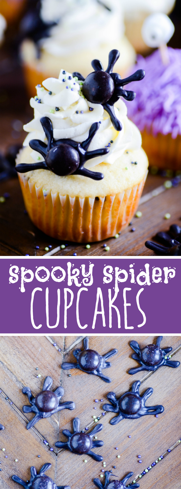 These spooky Halloween cupcakes are CRAZY EASY and eerily delicious. Grab a bag of cookies & cream M&Ms to make our easy edible black widow spiders!