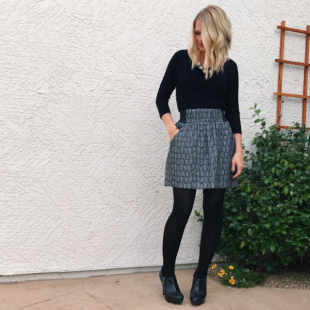 Thrifty Wife, Happy Life- NYE outfit inspiration with metallic skirt