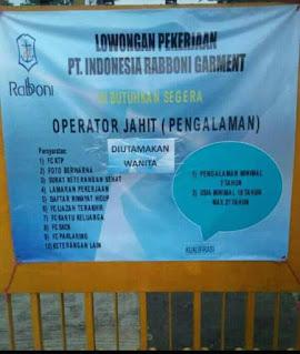 Lowongan Pekerjaan PT Indonesia Rabboni Garment