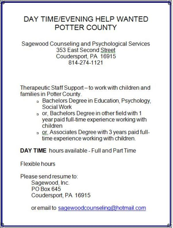 Help wanted resume 9 9 - the resume place