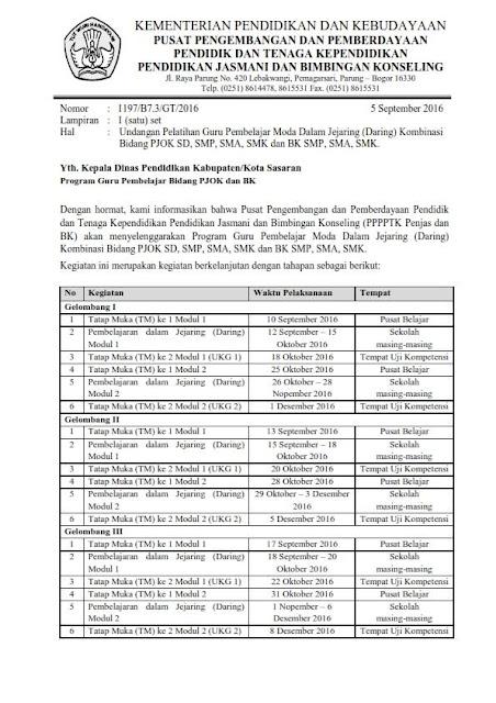 Undangan Guru Pembelajar Daring Kombinasi PJOK SD SMP SMA
