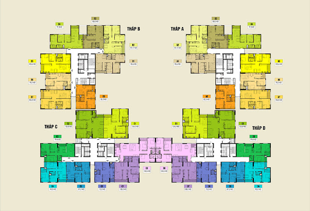 Mặt bằng thiết kế tổng thể sàn căn hộ Việt Đức Complex