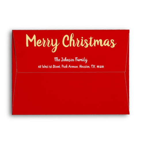 Merry Christmas Gold White Red Holiday Mailing Envelope