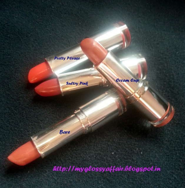 Colorbar Lipsticks- Bare, Pretty Please, Cream Cup, Sultry Pink