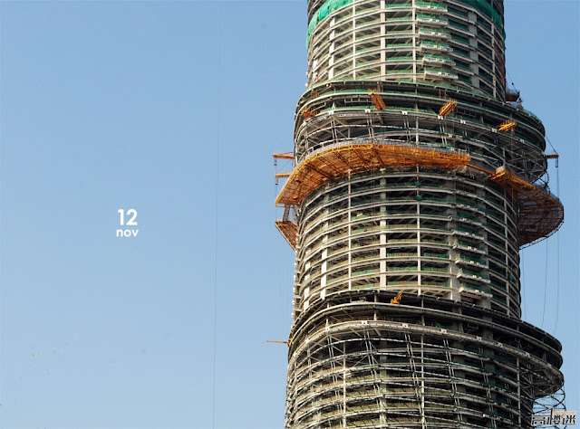 Photo of upper floors of the tower under construction