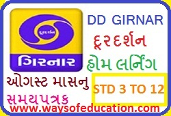 STD 6 TO 8 DOORDARSHAN BROADCAST HOME LEARNING TIME TABLE( SAMAY PATRK) AUGUST MONTH