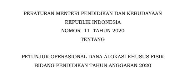 Juknis DAK Fisik Bidang Pendidikan Tahun 2020