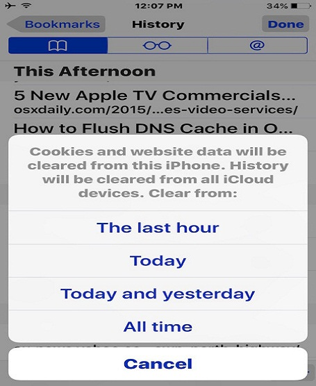 Removing Recent Safari Search, History, and Website Data on iPhone, iPad, iPod touch