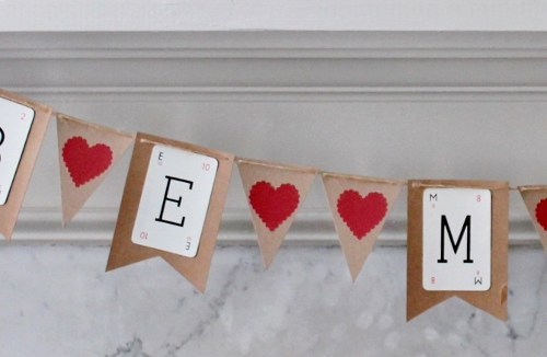 Valentine's Banner from Recycled Cardboard