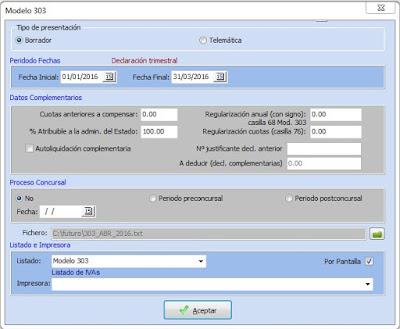 Imagen de la pantalla para la presentación del modelo 303 desde el programa de gestión para taller