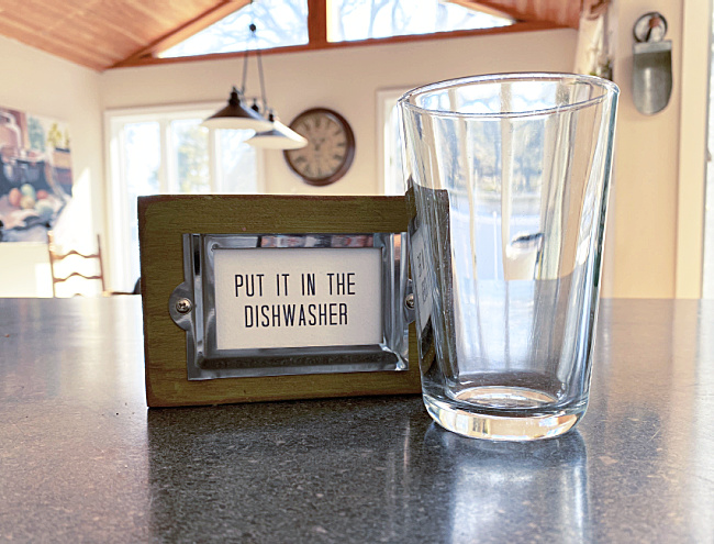 put it in the dishwasher sign and glass