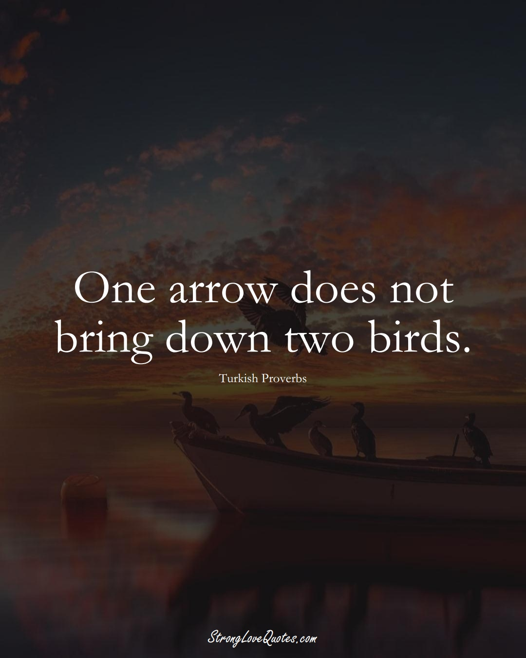 One arrow does not bring down two birds. (Turkish Sayings);  #MiddleEasternSayings