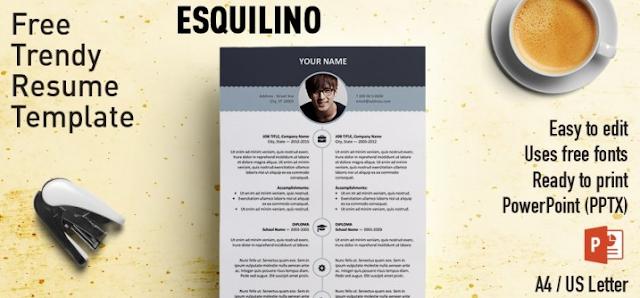 Contoh CV template PPT yang pertama adalah Esquilino Modern