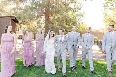 wedding party walking
