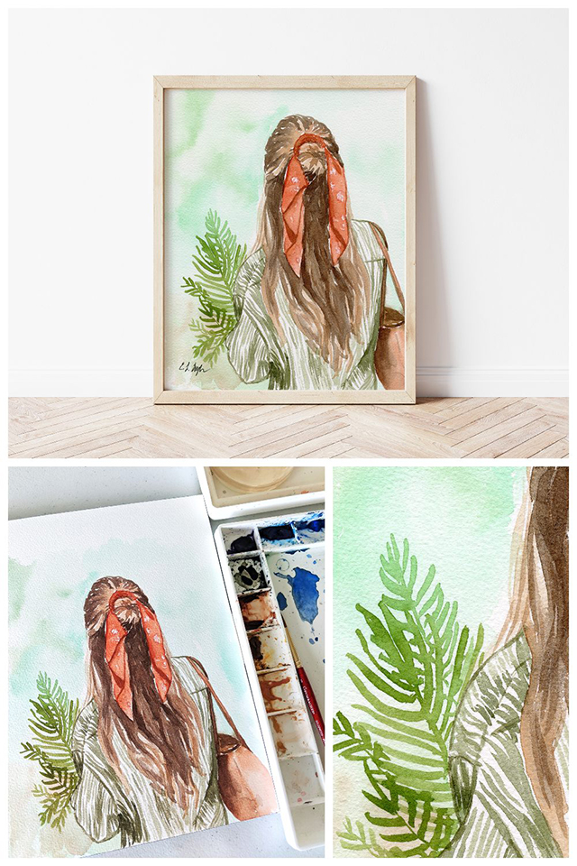 Watercolor Girl with Palm Leaves Painting by Elise Engh