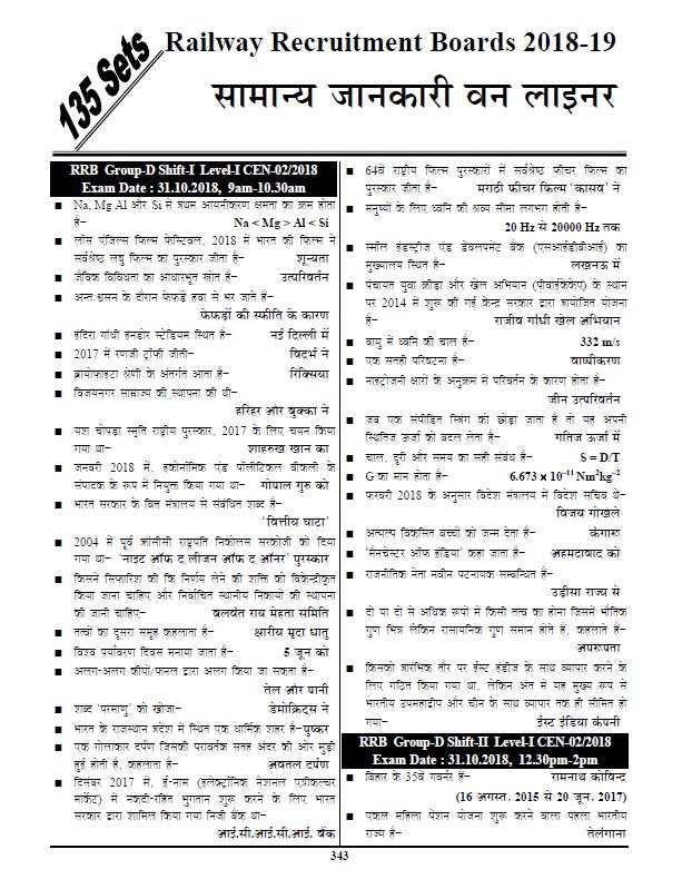 आर.आर.बी ग्रुप डी सामान्य ज्ञान वन लाइनर 2018 : रेलवे परीक्षा हेतु हिंदी पीडीऍफ़ पुस्तक | RRB Group D GS One Liner 2018 : For Railway Exams Hindi PDF Book
