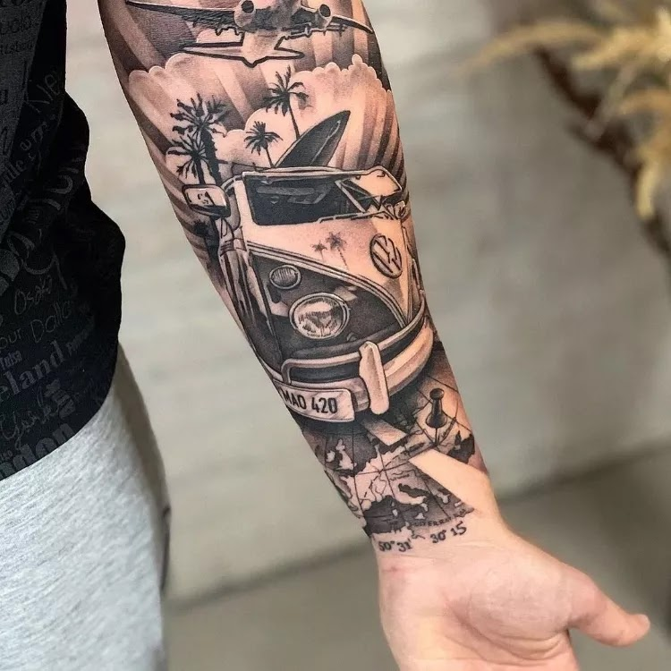 Treasure sign, compass men's forearms tattoo design ideas