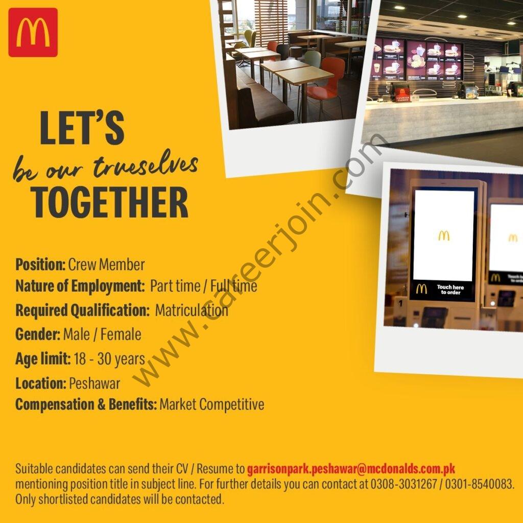 garrisonpark.peshawar@mcdonalds.com.pk - Mcdonalds Pakistan Jobs 2021 in Pakistan