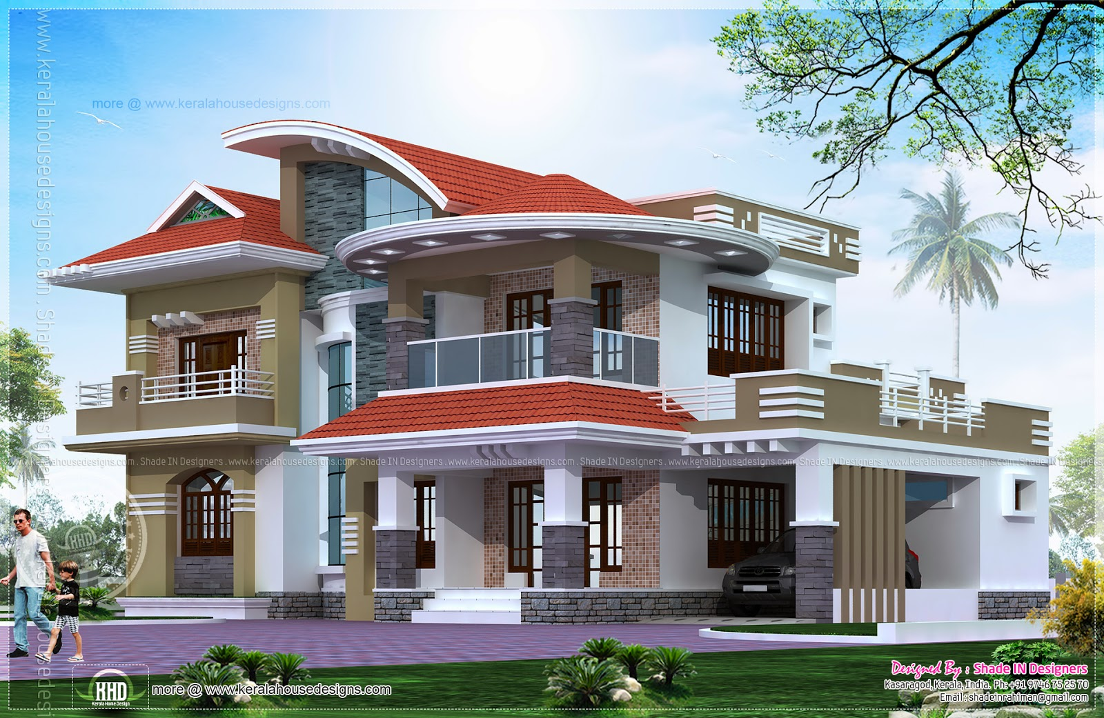 5 bedroom luxury house in kasaragod kerala home design for Kerala 3d home floor plans