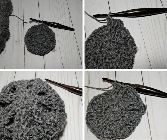 crochet beanie hat in the round