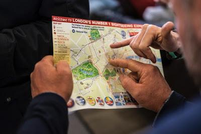 Mapa de viaje en un itinerario
