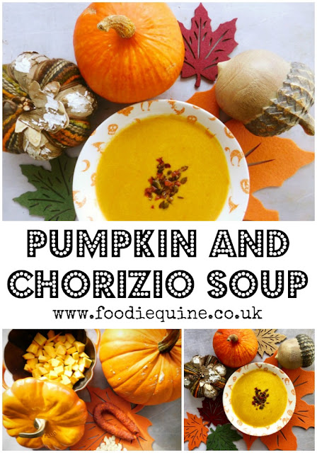 www.foodiequine.co.uk Soup is possibly the quickest and easiest way to make use of pumpkin flesh and this one is super tasty. Sweet pumpkin and spicy chorizio are a winning combination and this warming soup is packed with intense flavours. A hug in a bowl Ideal for Halloween and Bonfire Night.