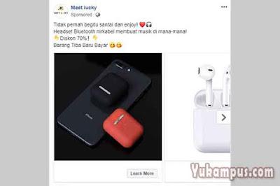 contoh iklan facebook ads meet lucky