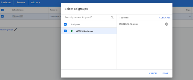 Add Call extension to the udmideas Google Add group