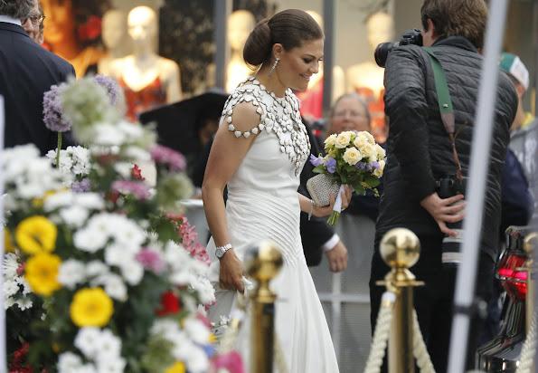 Queen Silvia, Crown Princess Victoria and Prince Daniel, Prince Carl Philip and Princess Sofia of Sweden attend Polar Music Prize 2016. Princess Victoria wore Ralph Lauren Dora V-Back Gown