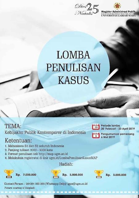 Lomba Penulisan Kasus Nasional & Internasional 2019 Mahasiswa Indonesia