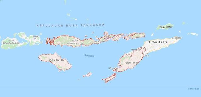 Peta Provinsi Nusa Tenggara Timur (NTT), Jumlah dan Daftar Nama Daerah Kota / Kabupaten di Provinsi Nusa Tenggara Timur (NTT)