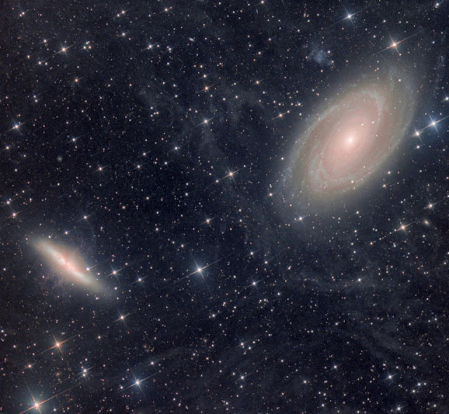 Galaxies M81 and M82 in Ursa Major imaged on Insight Observatory's ATEO-1 remote telescope and processed by Utkarsh Mishra from almost 5 hours of image data.