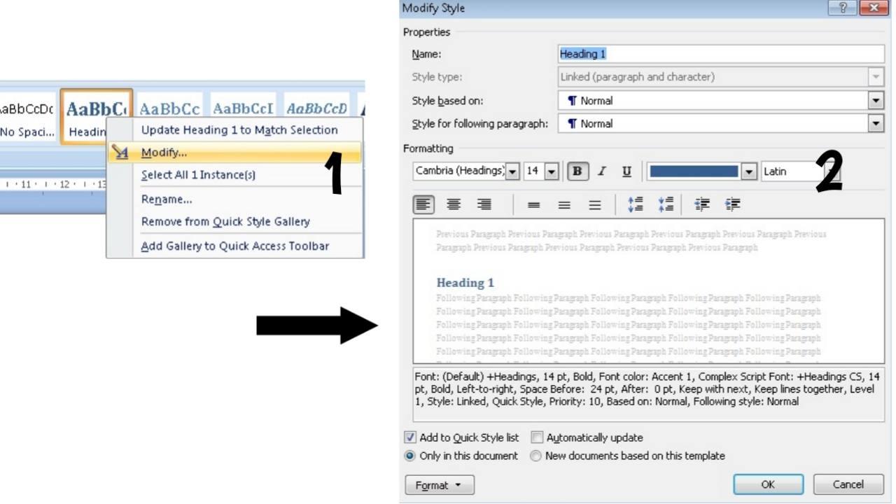Modify Heading Microsoft word
