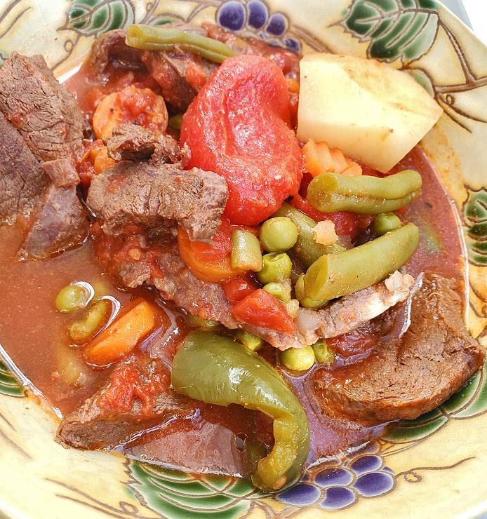 big bowl of fresh vegetable beef stew