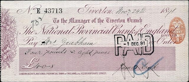 Cheque from Tiverton Branch of National Provincial Bank 1891
