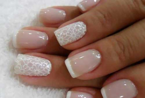 Stamped French Tips Nail art Design